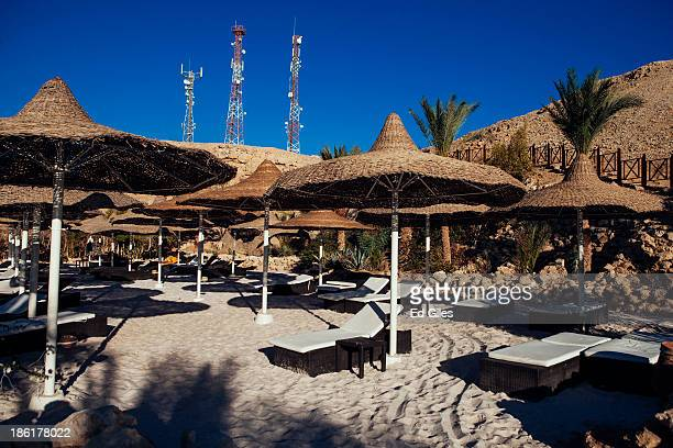 Beach chairs are seen unattended by tourists at a resort beach on October 26 2013 in the Red Sea resort town of Sharm El Sheikh Egypt Sharm elSheikh...