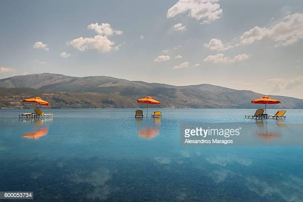 Beach chairs in Kefalonia, Greece
