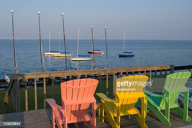beach chairs in the outer banks - outer banks stock pictures, royalty-free photos & images