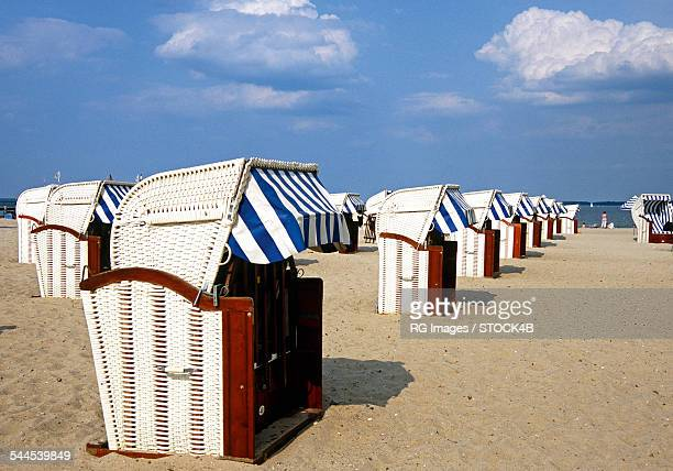 Beach chairs in Travemuende, Schleswig-Holstein, Germany