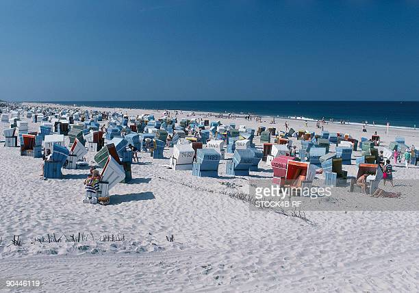 Beach chairs on Sylt, North Frisia, Schleswig-Holstein, Germany