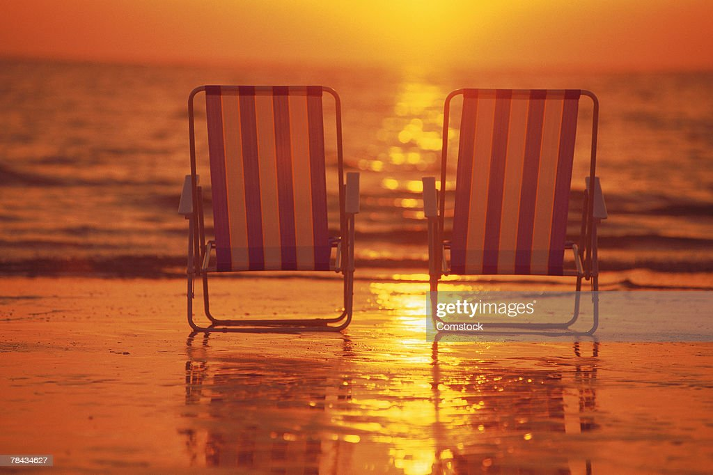 Beach Chairs On The Beach At Sunset Stock Photo Getty Images