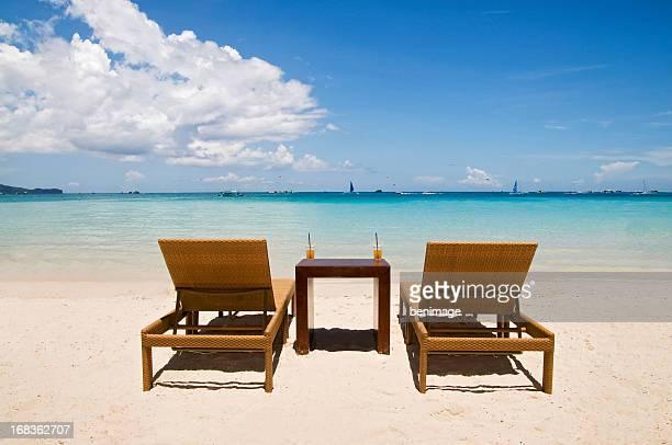 Beach Chairs on White Sand