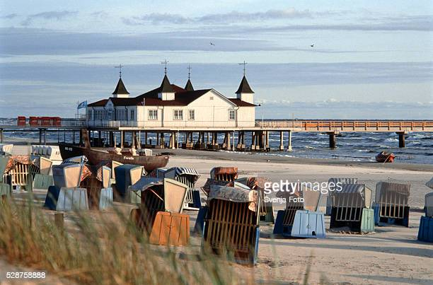 Beach chairs, pavilion and sea bridge in Usedom (Germany)