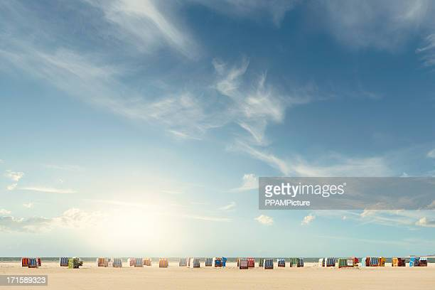 beach chairs - sky only stock pictures, royalty-free photos & images