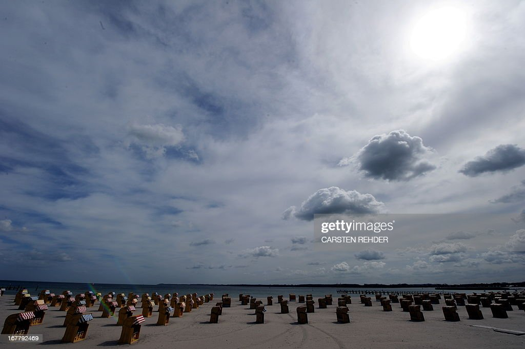 Beach chairs stand on the Baltic Sea beach in Travemuende, northeastern Germany, on April 30, 2013.