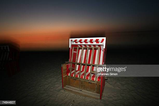 Beach chairs standing near the Baltic Sea are seen during sunset on June 11 at the island of Poel near Wismar Germany Meteorologists predict hot and...