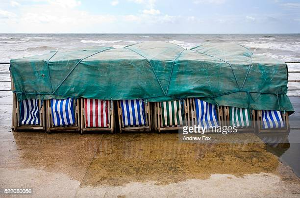 Beach Chairs Stored in Bad Weather
