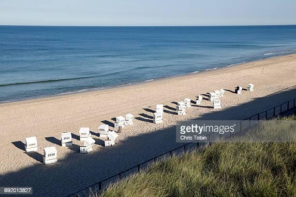Beach chairs Strandkörbe on the beach