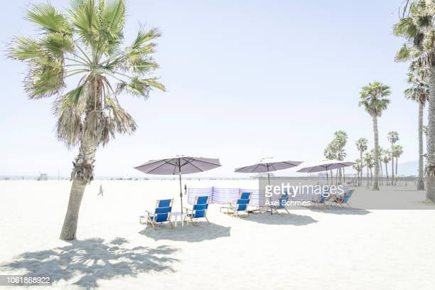 Beach chairs with umbrellas at Venice Beach