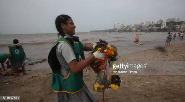 Beach Cleaning drive at Girgaon chowpathy after Ganpati immersion day in Mumbai