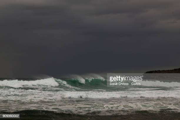 Beach Closed for swimmers due to dangerous surf conditions during king tides at Mona Vale on January 18 2018 in Sydney Australia