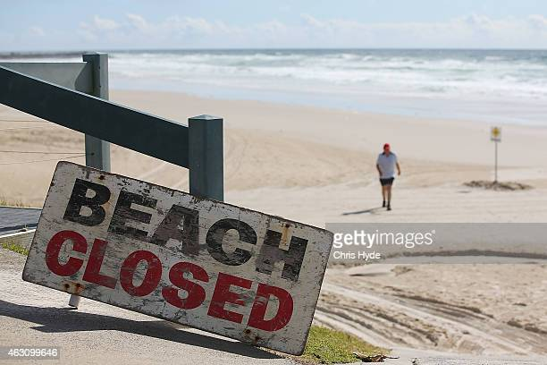 Beach closed sign on Shelly Beach on February 10 2015 in Ballina Australia Beaches in northern NSW remain closed after Tadashi Nakahara was killed on...