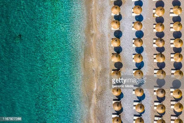 côte de plage parsemée de parapluies - parasol photos et images de collection