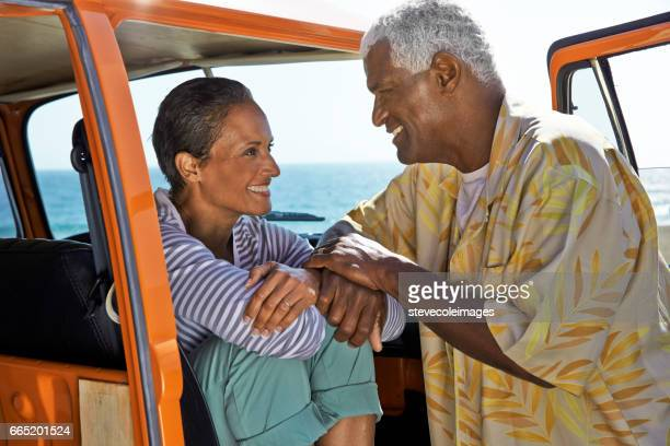 beach couple - 60 69 years stock pictures, royalty-free photos & images