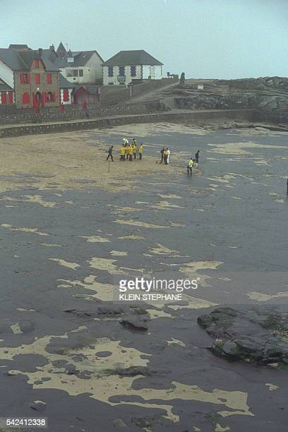 A beach covered in oil from the wrecked tanker
