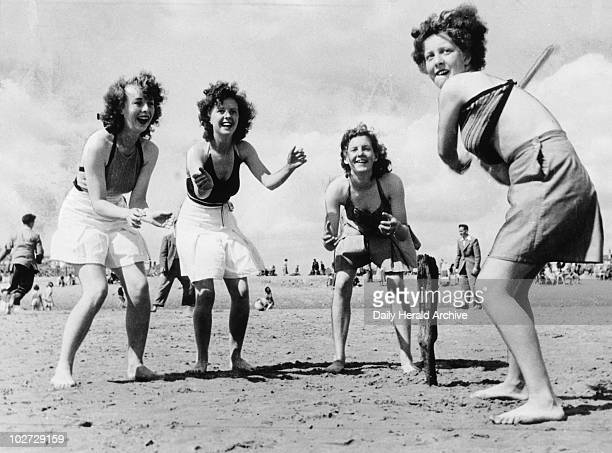 Beach cricket at Skegness in Lincolnshire Beach cricket at Skegness in Lincolnshire August 1940 'You don't have daughters mooning after seashells...