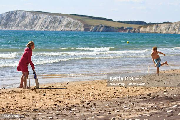 beach cricket, compton bay, isle of wight - compton bay isle of wight stock pictures, royalty-free photos & images