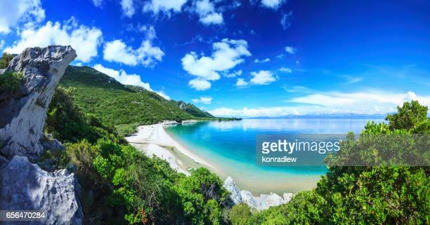beach, crystal clear water in adriatic sea and green mountains - hvar stock photos and pictures