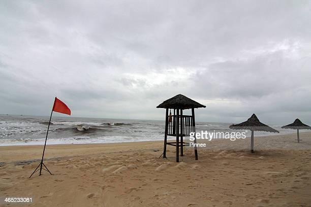 Beach dangerous alert in the storm