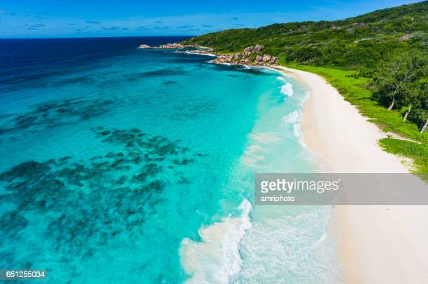 beach drone view - seychelles stock pictures, royalty-free photos & images