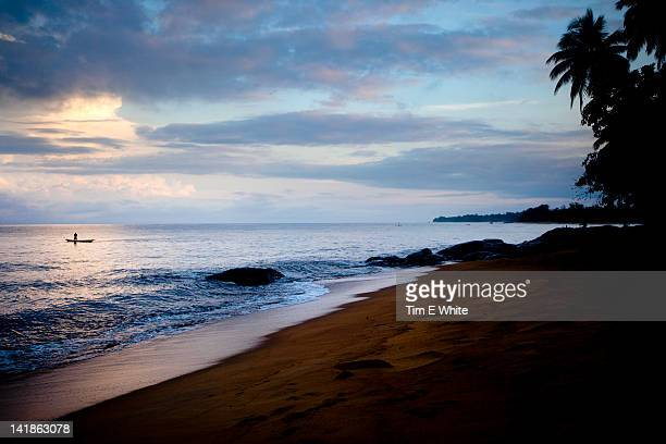 Beach early morning near Kribi, Cameroon, Africa