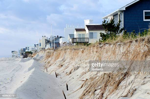 beach erosion and dune destruction caused by hurricane sandy - barrier_islands stock pictures, royalty-free photos & images