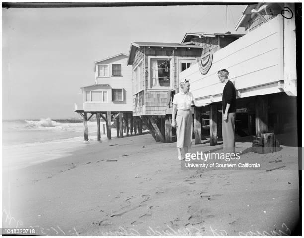Beach erosion at Surfside Colony 16 January 1953 Mrs Vida ThompsonMrs Mildred FantMrs Melba SchultzRobert Terwilliger Robert Mason Caption slip reads...