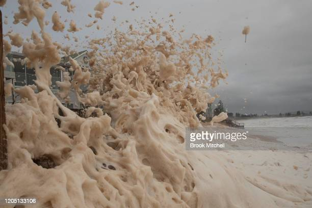 Beach erosion is seen at Collaroy on the Northern Beaches as a high tide and large waves impact the coast on February 10 2020 in Sydney Australia The...