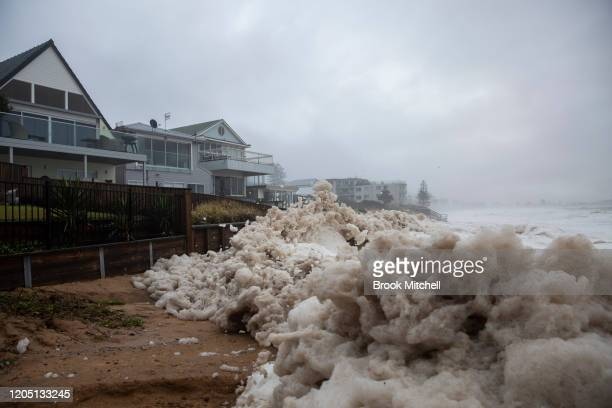 Beach erosion is seen at Collaroy on the Northern Beaches as a high tide and large waves impact the coast on February 10, 2020 in Sydney, Australia....