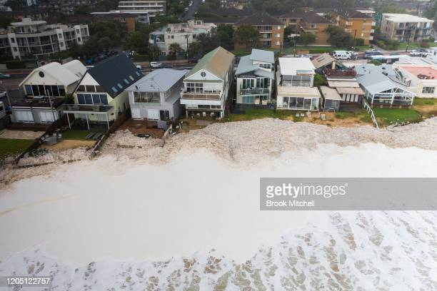 Beach erosion is seen at Collaroy on the Northern Beaches on February 10, 2020 in Sydney, Australia. Homes were evacuated after a landslip at...