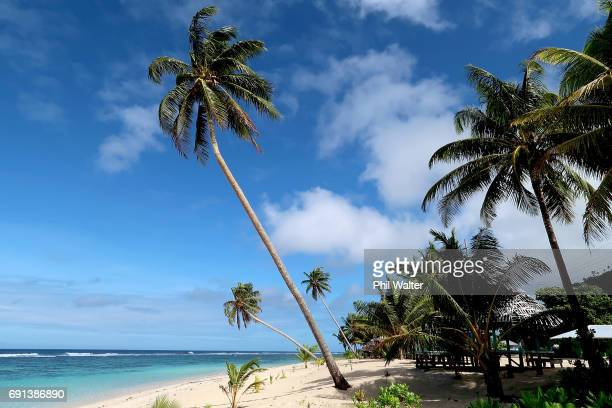 Beach fales are pictured on June 2 2017 in Saleapaga Samoa New Zealand Prime Minister Bill English today announced a US$515 million aid package to...