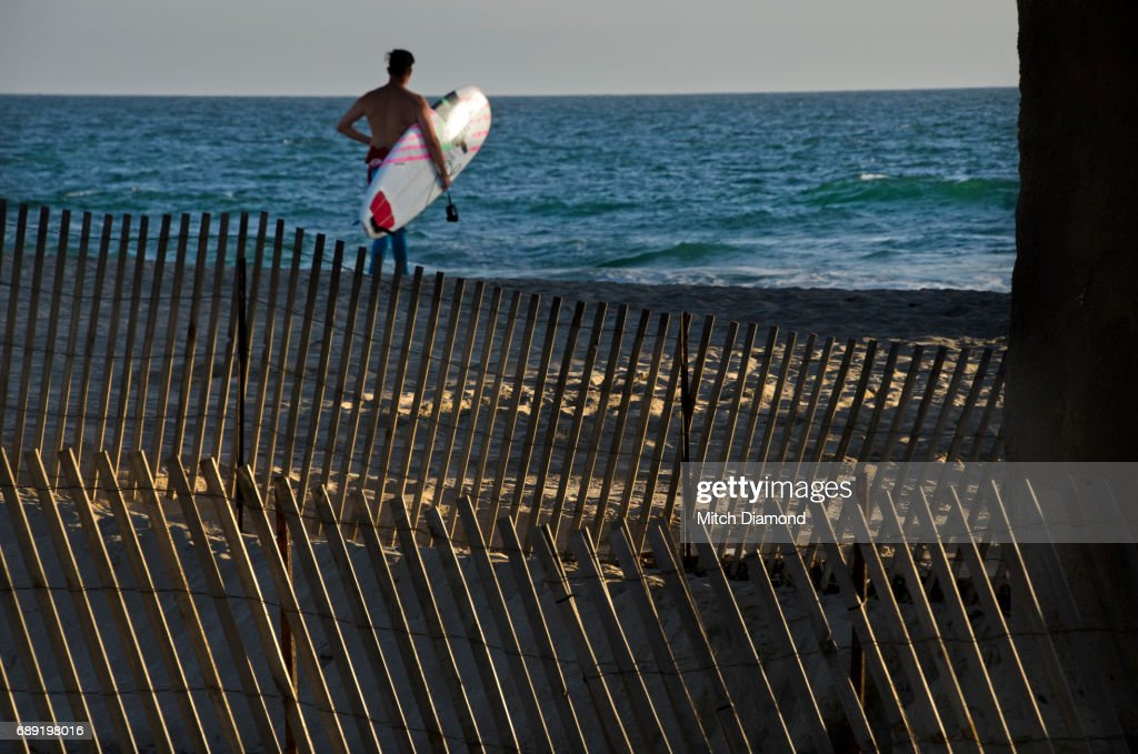 Beach Fence with surfer : Stock Photo