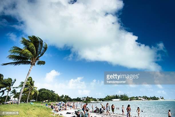 beach full of tourist in Key Largo - Florida