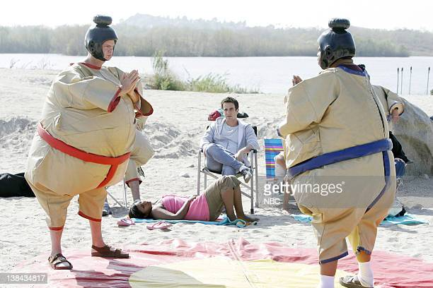 THE OFFICE Beach Games Episode 22 Aired Pictured Rainn Wilson as Dwight Schrute Mindy Kaling as Kelly Kapoor BJ Novak as Ryan Howard and Leslie David...