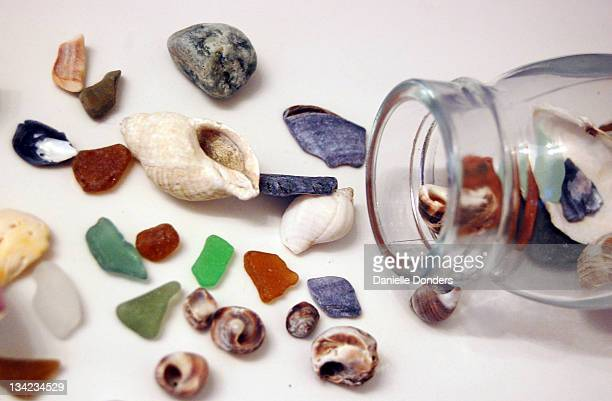 Beach glass and sea shells in bottle