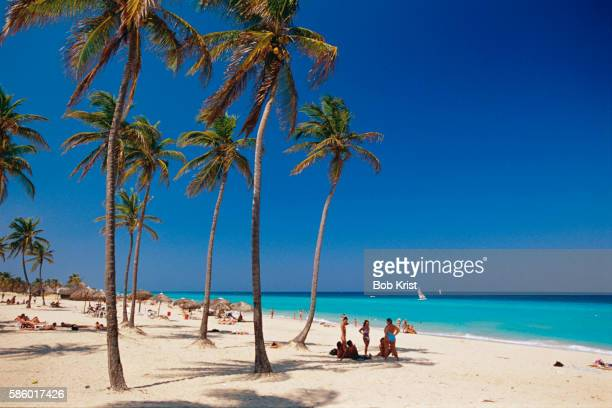 beach goers at santa maria beach - ハバナ ストックフォトと画像