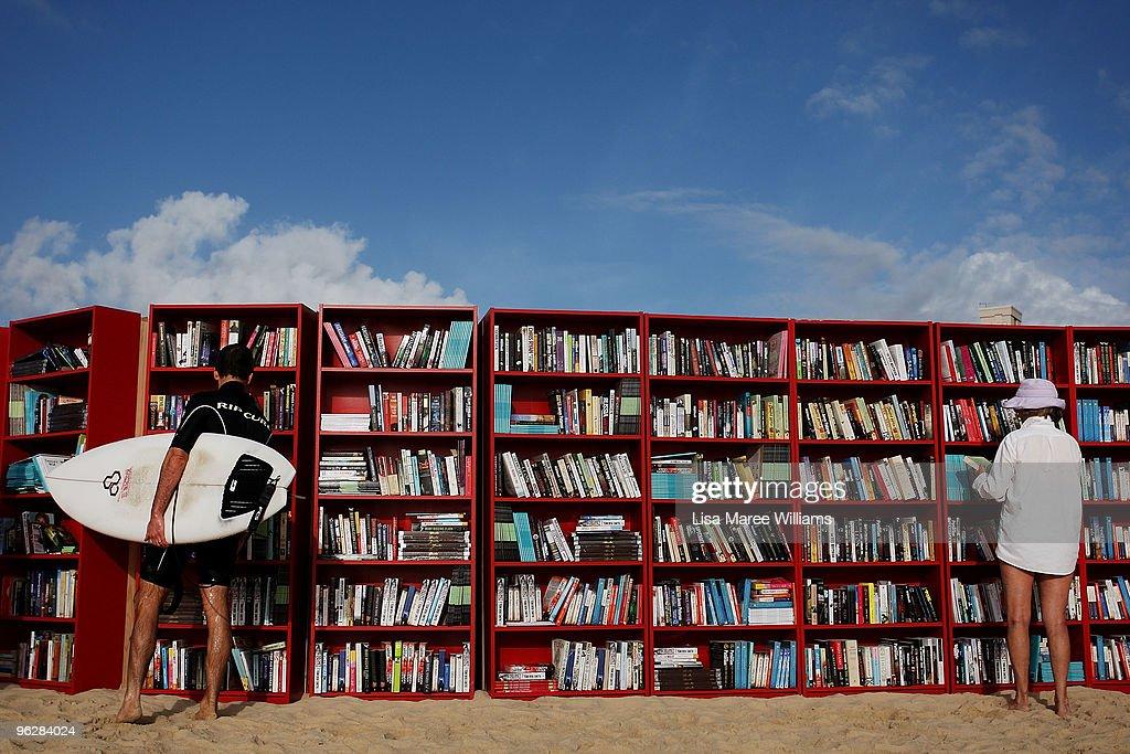 IKEA Create World's Longest Outdoor Bookcase On Bondi Beach : News Photo