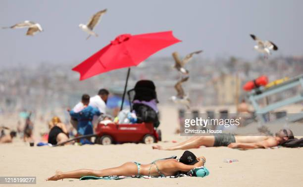 Beach goers sunbathe while social distancing at Hermosa Beach on Sunday, May 24, 2020.