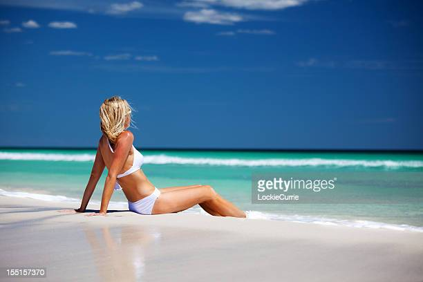 beach holiday - bikini atoll stock photos and pictures
