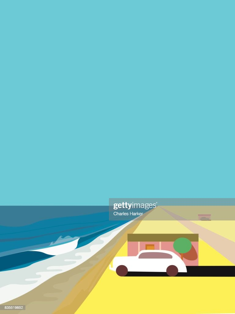 Beach House and old car by Ocean in the Desert Illustration : Stock Photo