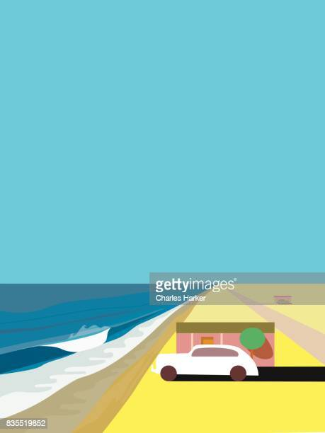 Beach House and old car by Ocean in the Desert Illustration