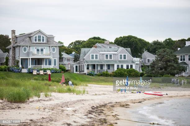 Beach house stand near the waterfront on July 18 2015 in Hyannis Cape Cod Massachusetts Cape Cod hosts the collegiate summer 'Cape Cod Baseball...