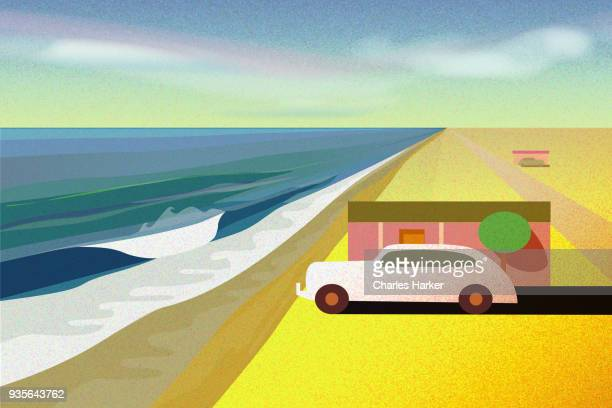 Beach House with old car on deserted beach illustration
