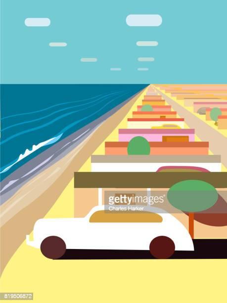 Beach Houses along the Ocean in the Desert Illustration
