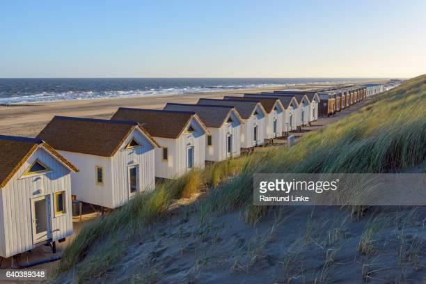 Beach houses on the beach, Domburg, North Sea, Zeeland, Netherlands