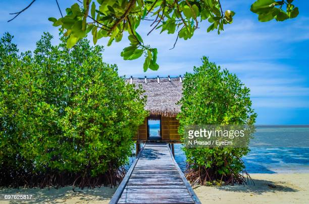 beach hut against sky - raja ampat islands stock photos and pictures