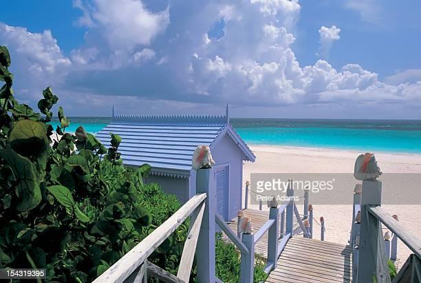 beach hut, harbour island, bahamas - harbor island bahamas stock photos and pictures