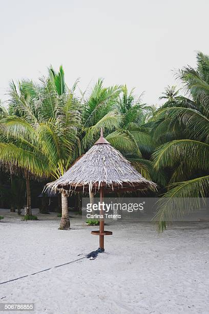 beach hut - mabul island stock photos and pictures