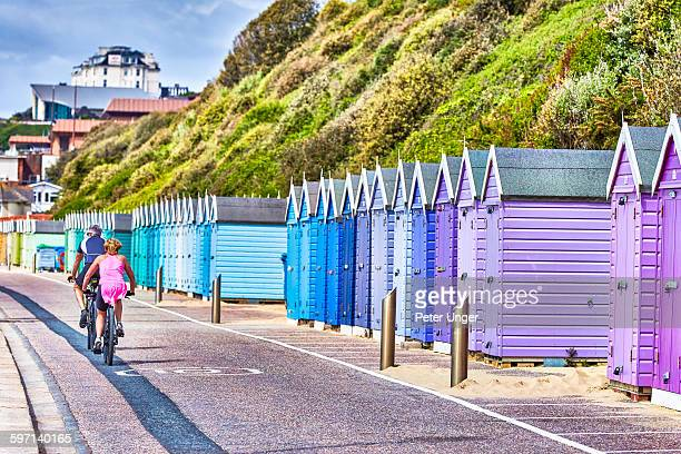 beach huts at bournemouth, dorset - bournemouth england stock pictures, royalty-free photos & images